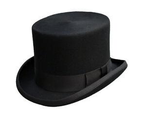 Simple Neuf Traditionnel Homme Classique Formel Mariage événement Laine Noir Chapeau Haut-afficher Le Titre D'origine