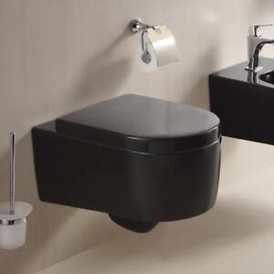 schwarz wand h nge wc toilette tiefsp ler mit softclose absenkautomatik sitz ebay. Black Bedroom Furniture Sets. Home Design Ideas