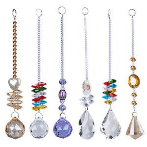 US-Set-6-Rainbow-Maker-Crystal-Suncatcher-Chandelier-Prism-Pendulum-Pendant-Gift