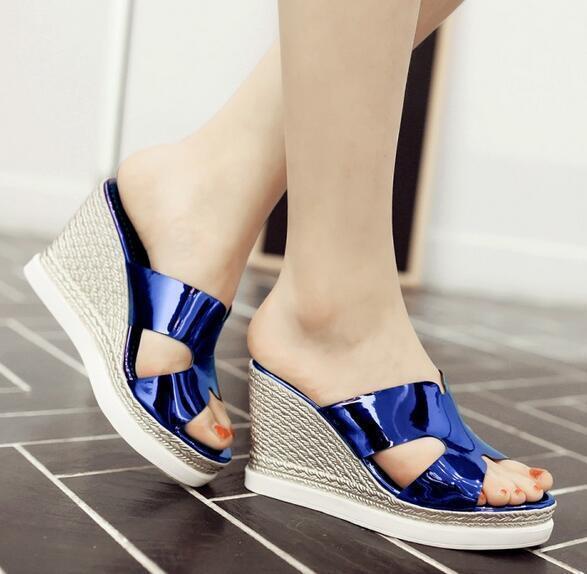 Scarpe ciabatte sabot sandali tacco zeppa 9.5 cm blu elettrico elegante 8036