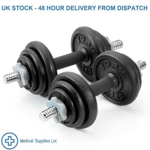 *BRAND NEW* York Fitness 20KG BLACK CAST IRON DUMBBELL SET SPINLOCK