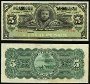 1914-Bank-Tamaulipas-Mexico-5-Pesos-Banknote-P-S429r-Child-Guadalupe-Obregon-CU