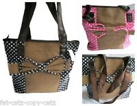CUTE LADIES LARGE CANVAS SPOTTED POLKA DOTS WITH BOW SHOPPING HAND BAG UK SELLER