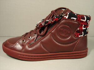 d536d997b234 CHANEL Burgundy Tweed Lambskin Lace Up Sneakers Tennis Shoes Trainer ...