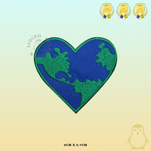 World Heart Earth Embroidered Iron On Sew On Patch Badge For Clothes Bags Etc