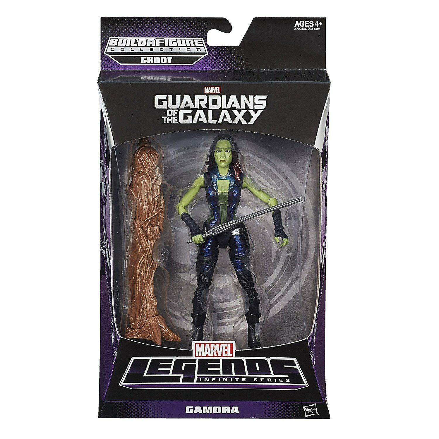 MARVEL LEGENDS INFINITE GUARDIANS OF THE GALAXY GAMORA FIGURE BUILD GROOT BAF