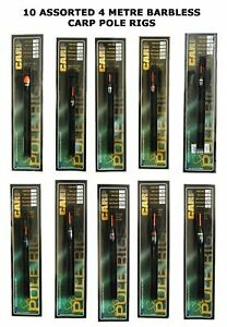 10 Assorted 4m NGT Ready Made Barbless Carp & Specimen Pole Float Rigs