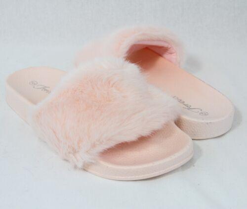 Fur Slide Flip Flop Cute Slippers Comfortable Flat Shoes Faux Furry Sandals Pom