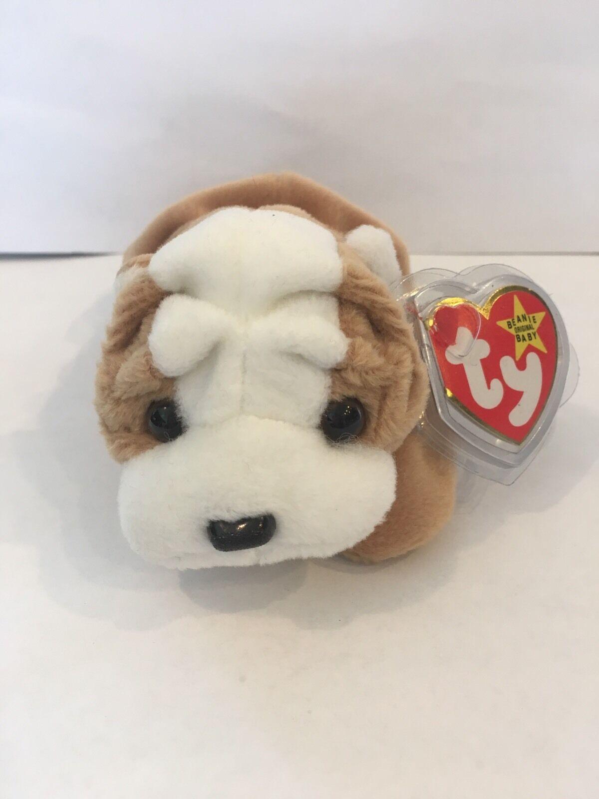 Falten, die bulldogge ty beanie baby.seltene, neue, mwmt, p.v.c. pellets und fehler.