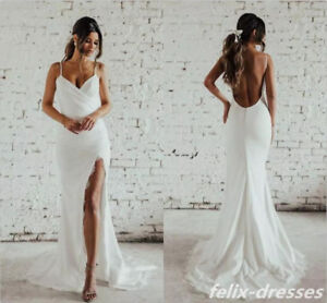 e8f7eb701e Image is loading Spaghetti-Strap-Mermaid-White-Ivory-Wedding-Dress-Lace-