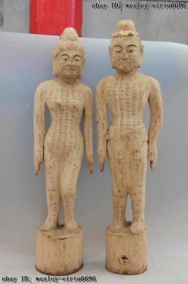 Wood Carve Traditional Chinese Medicine acupuncture human body point Statue Pair