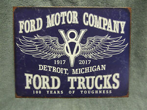 """LOGO DETROIT MICH TIN SIGN MEASURES 12.5/"""" X 16/"""". FORD MOTOR CO"""