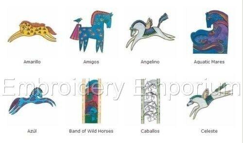 Colección De Caballos mítico-diseños de bordado de la máquina en CD o USB