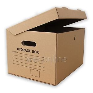 STRONG A4 FILING ARCHIVE STORAGE REMOVAL CARDBOARD BOXES WITH HANDLES