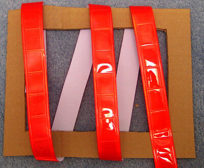 Red gloss sew on REFLECTIVE TAPE PVC 3'x1""
