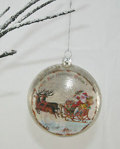 Vintage-Style-Christmas-Tree-Decoration-Glass-Bauble-Ball-Santa-Sleigh-Reindeer