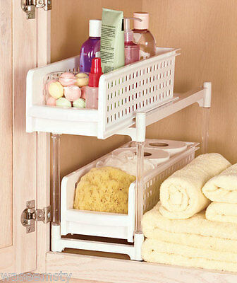2 Shelf Sliding Under Cabinet Bathroom Storage Organizer Caddy