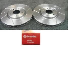 Mazda RX8 Front Rear Drilled Grooved Black Edition Brake Discs /& Brembo Pads