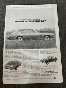 1967 Jensen Interceptor FF Vintage Print Ad British Car Of The Year