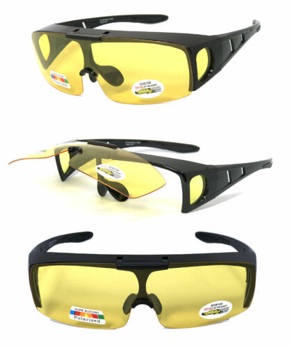 Flip Up Polarized Anit Glare Night Driving Lens Fit Over Glasses Sunglasses