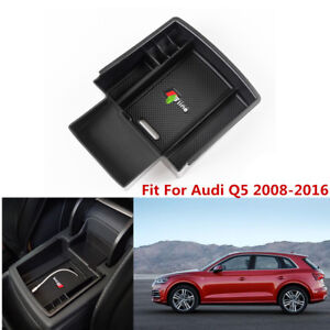 ABS Center Console Armrest Storage Box Organizer Tray For Audi Q5 2008-2016