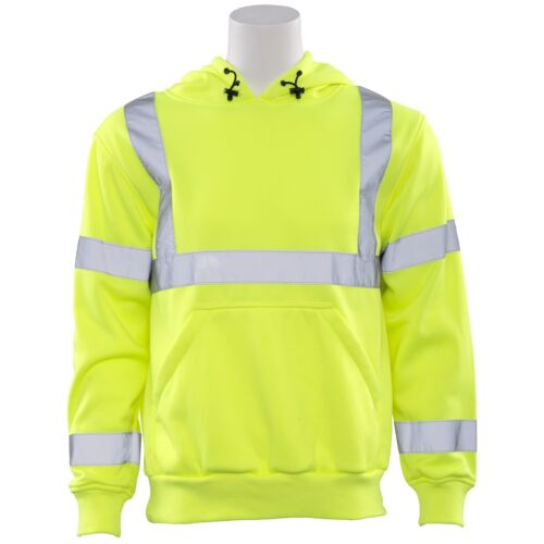 ERB Class 3 Reflective Safety Sweatshirt with Hood, Yellow/Lime