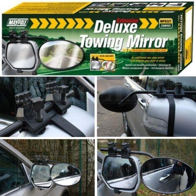 New Pair Of Maypole 8327 Universal Convex Glass Deluxe Car Caravan Towing Mirror