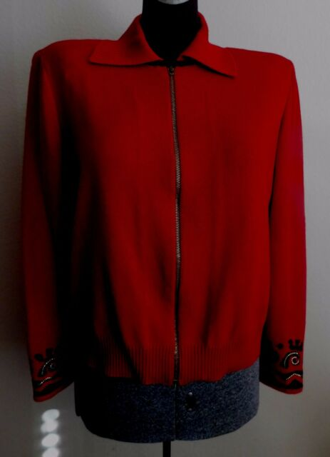 Vintage ST.JONH Marie Gray Christmas Red Knit Sweater S M