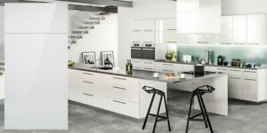 Details about All Wood RTA 10X10 Contemporary Milano White Gloss Kitchen  Cabinets, Modern Slab