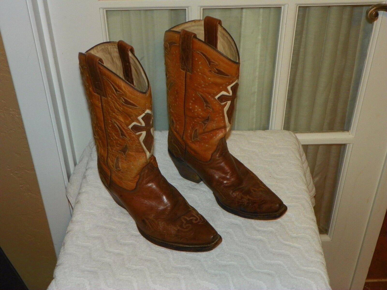 Corral dos tonos de de de marrón Incrustación Cruz Vaquera Occidental botas Talla 6.5 M  entrega rápida