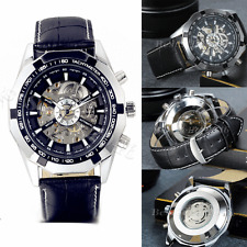 New Classic Mens Skeleton Mechanical Automatic Leather Strap Sport Wrist Watch
