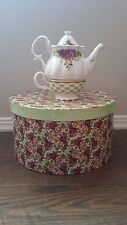 Royal Albert Old Country Roses Tea Service for One Pot Cup Hat Box 2002 Stacking