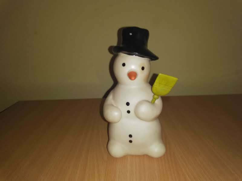 Snowman with a broom -Vintage Rubber toy Squeeze Squeak -Biserka art 367 RARE