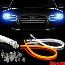 White & Yellow Switchback LED Tube Strip Silicone Lights For Retrofit Headlights