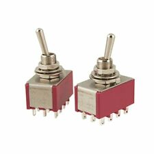(PACK OF 2)  AC 250V 2A 120V 5A 12 Pin 4PDT ON/ON Toggle Switch