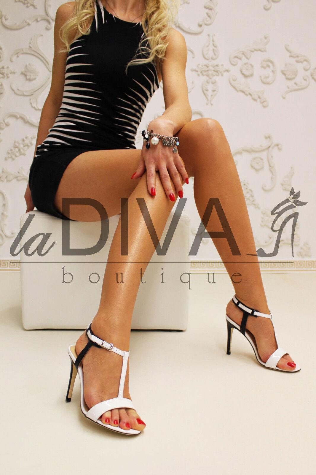 MICHELE SOZIO   Lack Leder Sandaletten Sandaletten Sandaletten 39 schwarz weiß Business High Heels 3fd512