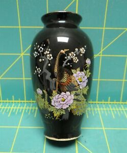 Handcrafted-Gold-Accented-Peacock-Black-Japanese-Ginger-Jar-Vase-3-75-034-x-1-75-034