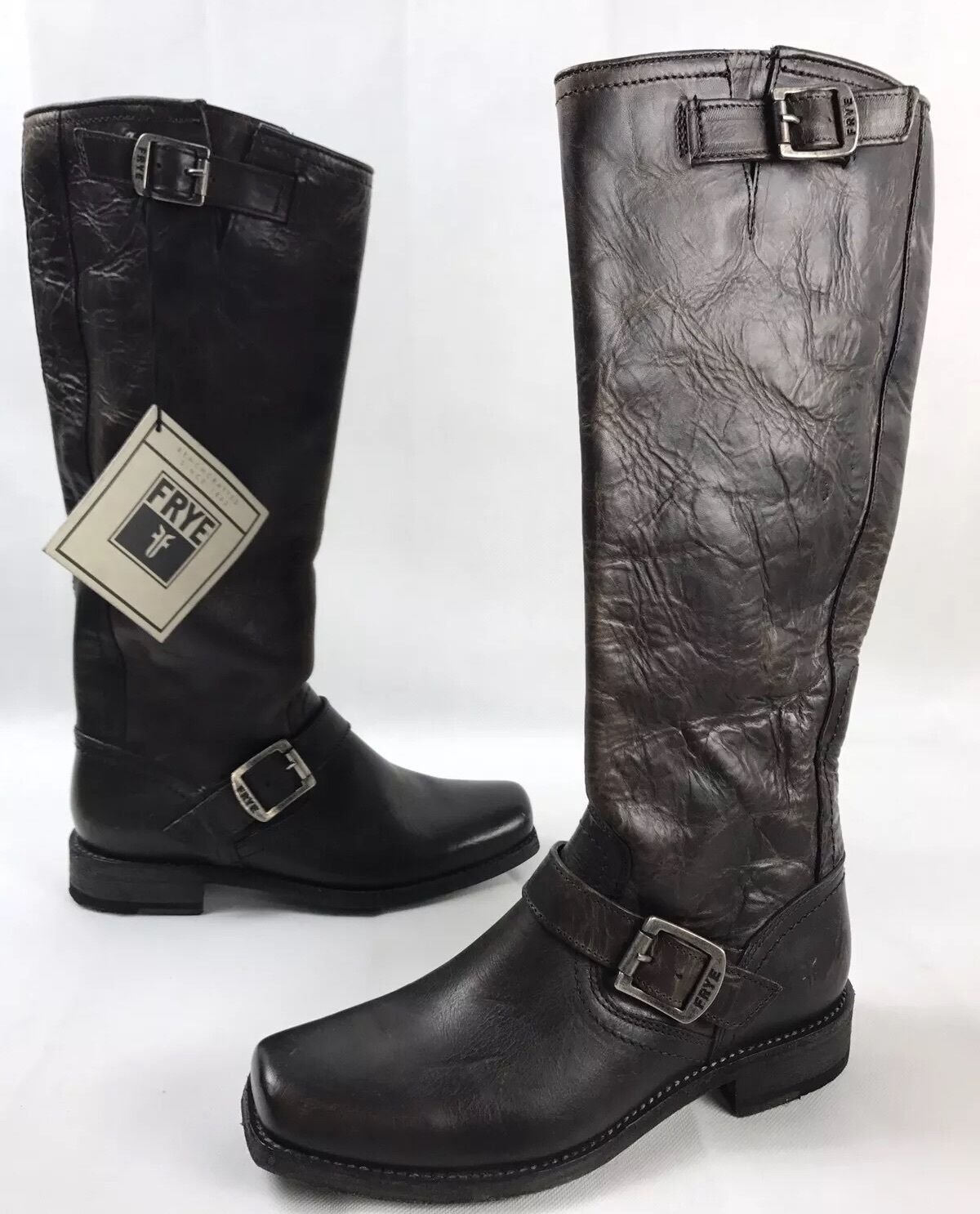 Nouveau Frye Smith Engineer Tall Cuir Équitation Bottes Anthracite Marron Taille 7 b