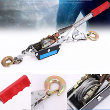 2 Ton Hand Puller Heavy Duty Winch Pull Hoist Come Along Cable Steel With 2 Hooks