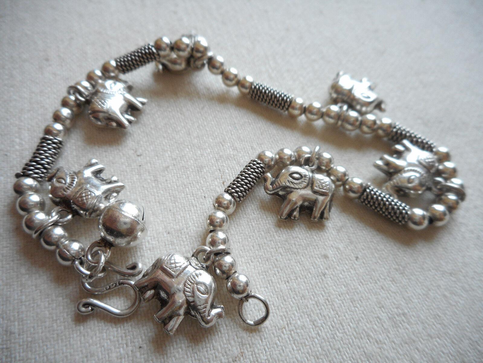 Vintage Sterling Sterling Bead Bar Elephant Charms 7.25  Bracelet  RE2956