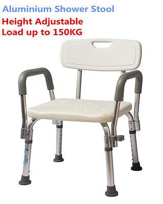 Adjustable Aluminium Shower Stool Bathtub Bench Bath Seat Aid Seat Armrest Back