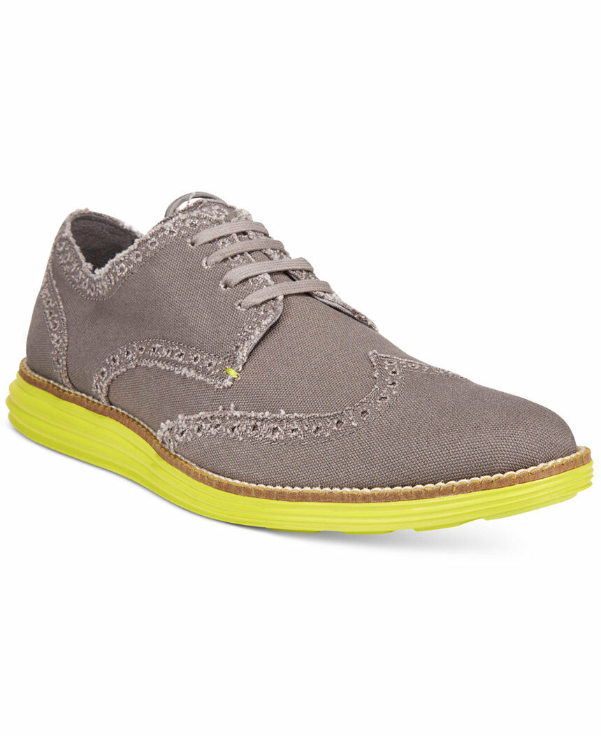 NIB Cole Haan Men's Original Grand Wingtip Oxfords Grey YLW Canvas  C21003