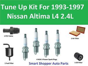 [WQZT_9871]  Tune Up Kit For 1993-1997 Nissan Altima L4 Spark Plug, Oil Air Fuel Filter,  PCV | eBay | 97 Nissan Altima Fuel Filter Location |  | eBay
