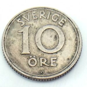 1920-Sweden-Sverige-Antique-Ten-10-Ore-Swedish-Circulated-Norwegian-Coin-G317