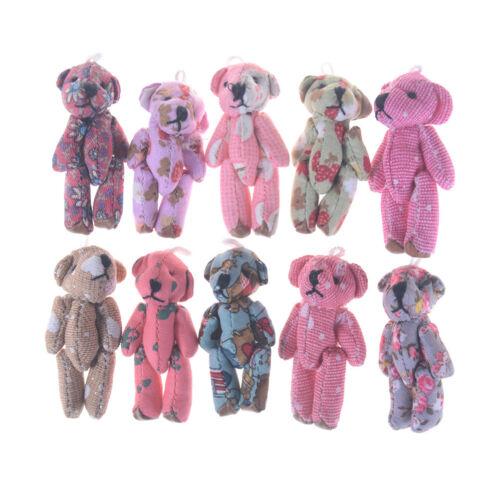 5Pcs Kawaii Mini Jointed Stuffed Bear Plush Pendant Bouquet Dolls Kids Toy Ug