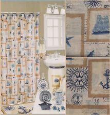 NAUTICAL Ocean Anchor Ships Seashell Compass Beach Fabric Shower Curtain ...