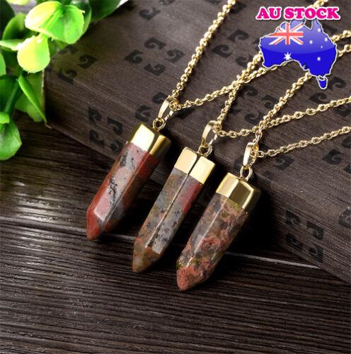Natural Mixture UnakitePoint Chakra Healing Gemstone Pendant Necklace