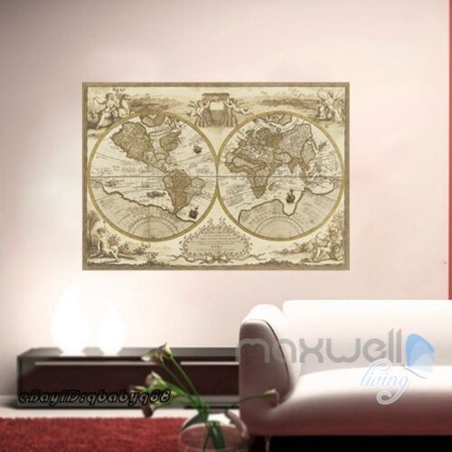 Classic World Map Bussiness Decor Removable Wall stickers Kids Mural Art