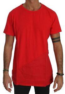 KM ZERO T-shirt Cotton Red Roundneck Short Sleeve Men Top IT52/US42/XL RRP $150