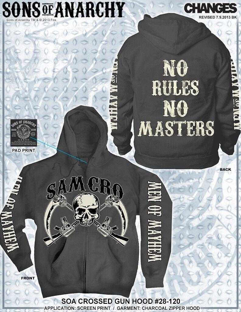 Sons Of Anarchy No Rules No Master Soa Incrociate Pistola Samcro Mietitore